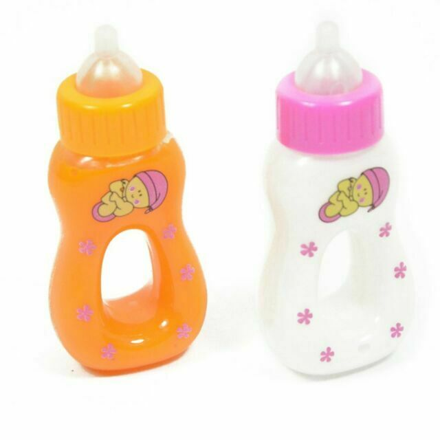 Medium Set of 2 Small Magic Baby Bottles Girls Pretend Play Disappearing Milk /& Juice Bottles Sky Toys for American Dolls