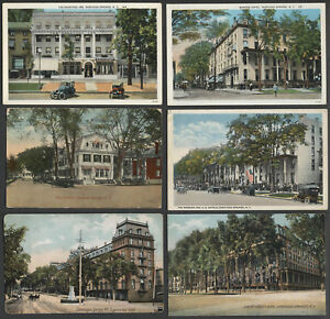 Saratoga-Springs-NY-Six-c-1907-20s-Postcards-HOTELS-WORDEN-CARLSBAD-MORE
