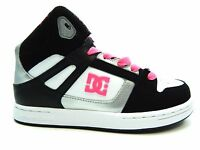 Dc Rebound Se Black White Pink Youth Shoes Size 10.5 To 7