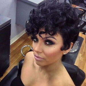 Fashion Short Curly Wavy Full Wigs For Women Short Pixie cut layered ... 7fabf0523