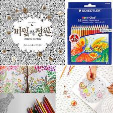 SECRET GARDEN Coloring Book Staedtler 36 Colored Pencils Set Healing Anti Stress