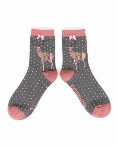 Powder Designer Bamboo Ankle Socks Stag Slate Ladies womens Girls /& Gift Bag