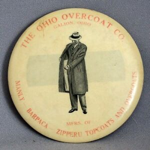 VINTAGE-ADVERTISING-POCKET-MIRROR-CELLULOID-Ohio-Overcoat-Co-Zipperu