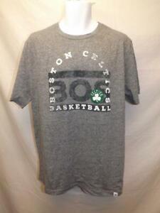 Nuevo-Boston-Celtics-Hombres-Talla-L-Grande-Gris-Majestic-Camisa