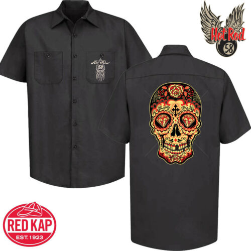 Hot Rat Rod 58 Sugar Skull Garage Mechanic Work Shirt Tattoo Rockabilly Car 125