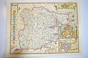 LOVELY VINTAGE REPLICA John velocità mappa dell' Essex circa.1610 COLCHESTER pianta di città