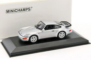 Porsche-911-964-Turbo-annee-de-construction-1990-argent-metallique-1-43-Mini