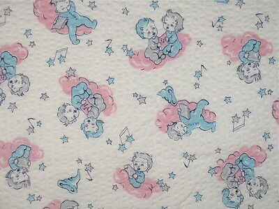VTG JUVENILE NOVELTY COTTON NURSERY FABRIC Sleeping Baby PINK BLUE Kids Playing