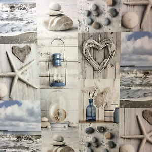 Image Is Loading Blue Grey Beach Maritime Wallpaper Nautical Bathroom Pebbles