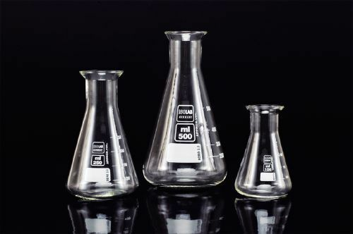 ISOLAB Glass Lab Flask Set Includes 50ml, 100ml, 250ml and 500ml Sizes