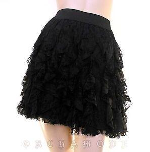 Jupe gothique YANNICK Noir Laçage dentelle résille Taille UNIQUE 36 38 40 NEUF