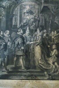 """*3142* gravure """"le mariage de la reines""""  Jean-Marc Nattier (1685-1766) 17/18eme"""