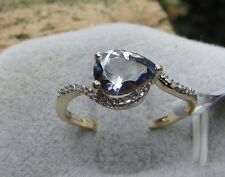 1.12 cts Genuine Bi-Color Tanzanite Solitaire Size 7 Ring in 10k Yellow Gold