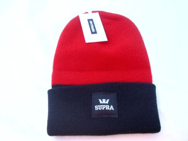 Supra Beanie Red   Black 1 size fits all Skate Hip Hop Brand New 025264ad3933
