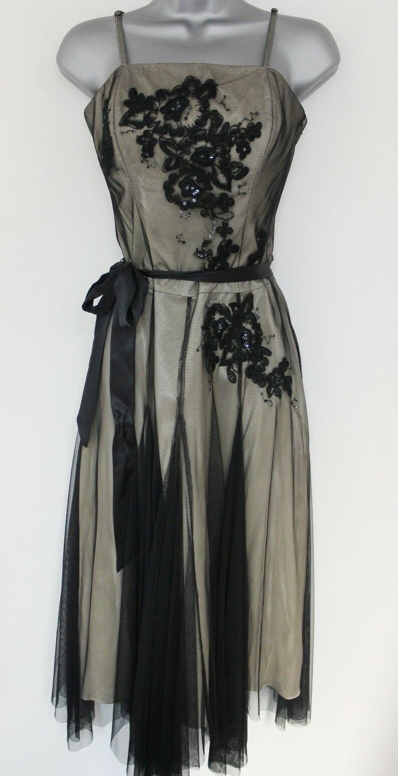 Stunning Monsoon Embellished Embroidered Net Evening Occasion Dress Size 10