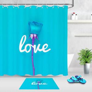 """Valentine Blossom Tree Bathroom Waterproof Fabric Shower Curtain 12Hooks Set 72/"""""""