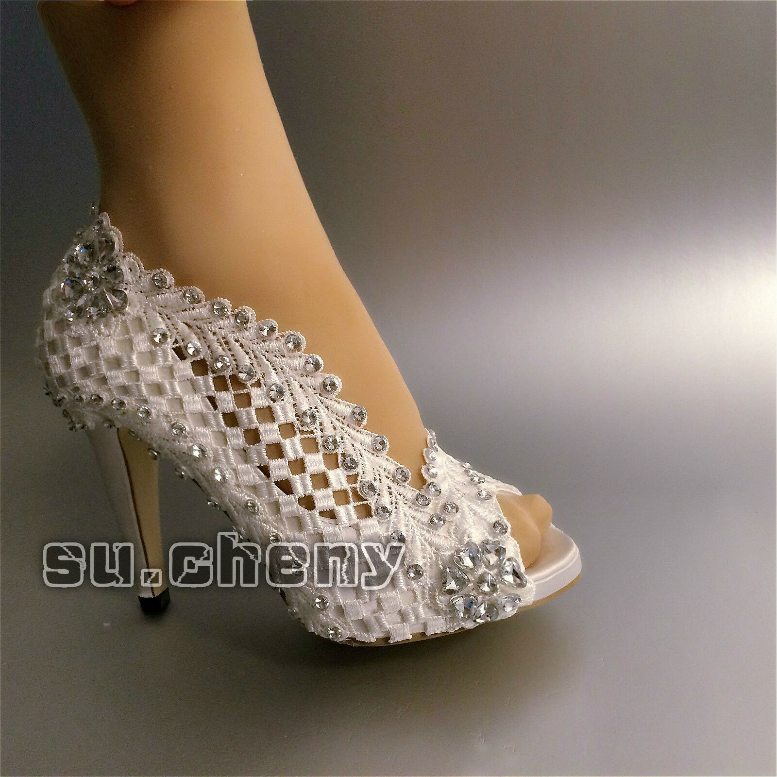 "Su.cheny 3  4"" heel Weiß ivory ivory ivory silk satin lace open toe Wedding Bridal schuhe a7458d"