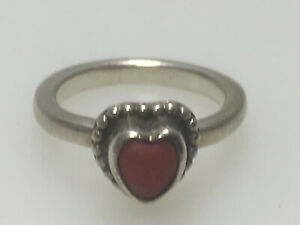 925-STERLING-SILVER-amp-CORAL-HEART-RING-SIZE-5-5