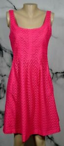 NINE-WEST-Pink-Lace-Sleeveless-Dress-8-Fit-amp-Flare-Inverted-Pleat-Waist-Lined