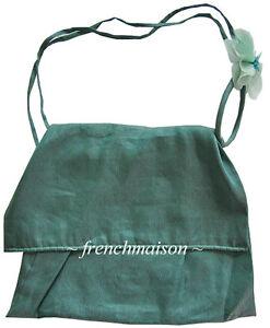 ITALIAN-Made-HAND-SEWN-Venice-Linen-Nylon-Green-Bag-Flower-Gift-New
