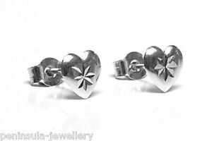 Image Is Loading 9ct White Gold Heart Studs Earrings Made In
