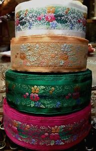 Vintage-Embroidered-Jacquard-Ribbon-1-3-4-034-Trim-Satin-Edges-1yd-Made-in-France