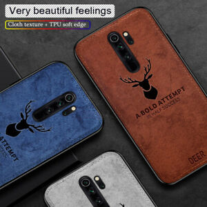 For-Xiaomi-Redmi-Note-8-Pro-Slim-Pattern-Fabric-Hybrid-Soft-Deer-Head-Case-Cover