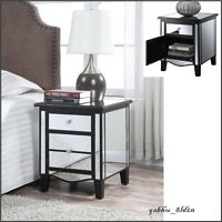 Black Mirrored Accent Table Modern Cabinet Nightstand Drawer Bedroom Room Stand