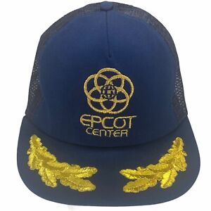 VINTAGE Disney Epcot Center Gold Leaf Navy Mesh Snapback Hat USA Trucker Cap