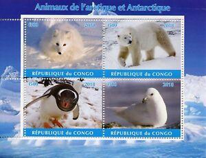 Congo-2018-CTO-ARCTIC-amp-ANTARTICO-ANIMALI-4-V-M-S-I-ORSI-POLARI-PINGUINI-FRANCOBOLLI