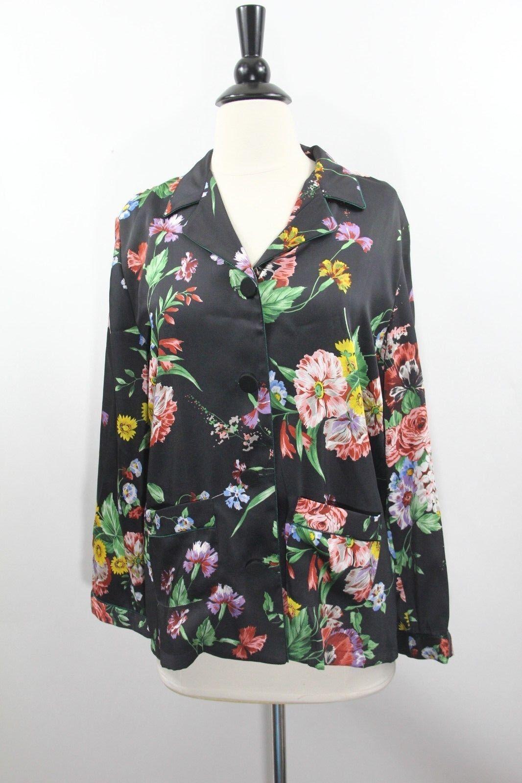Zara Pajama Shirt damen Top sz Small Floral Blouse Pyjama Pockets Satin New