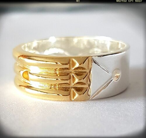 ANILLO  ATLANTE 925 STERLING SILVER ATLANTIS RING 24K GOLD PLATED FRONT