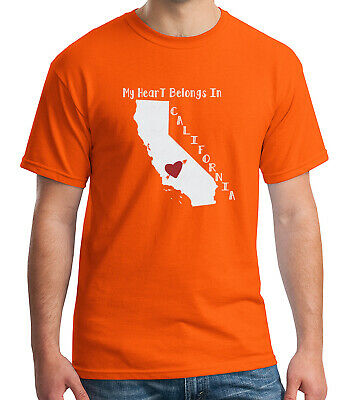 My Heart In CA Adult/'s T-shirt Proud California Compatriot Tee for Men 1696C