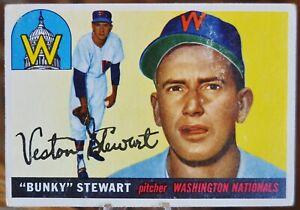 1955-Topps-Baseball-Card-136-034-Bunky-034-Stewart-Washington-Nationals-VG