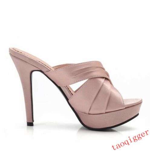 Ladies Satin Sandals Open Toe Slim High Heel Shiny Crossing strap Slipper Shoes