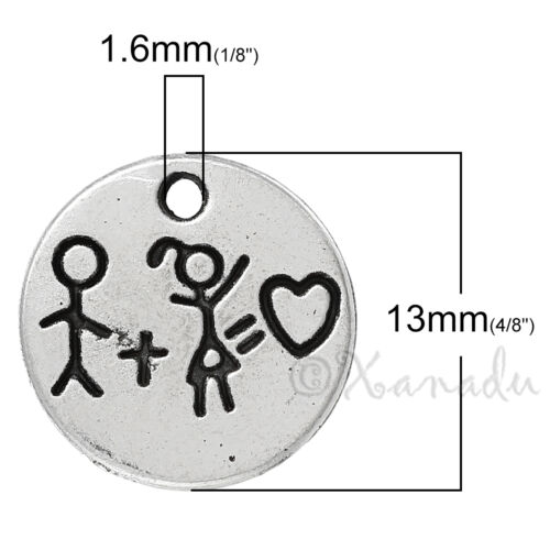 20 Or 50PCs Boy Girl Heart Wholesale Silver Plated Charm Pendants C1541-10