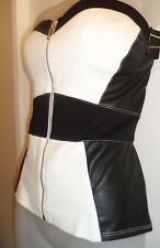 bebe L Corset Strapless Top Black White Faux Leather Zipper Club Party Sexy CHIC