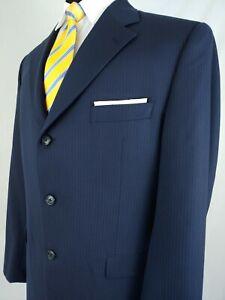100% De Qualité Jack Victor 100% Laine Bleu Marine 3button Craie à Fine Rayure Costume Hommes