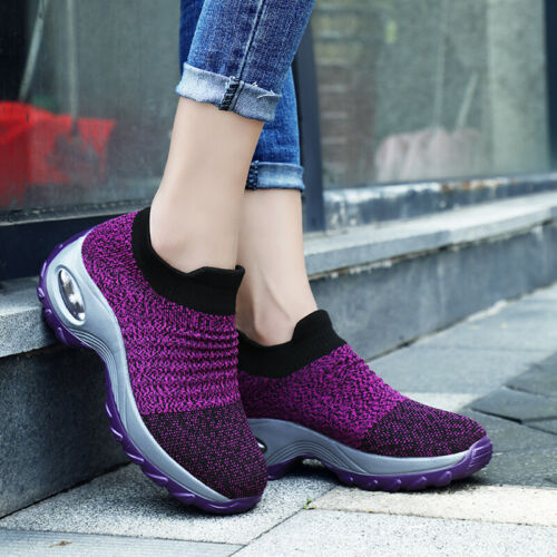 Womens  Slip On Mesh Casual Sneakers Shoes Breathable Walking Outdoor