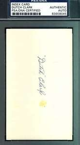 Dutch Clark Signed Psa/dna Coa 3x5 Index Card Authentic Autograph