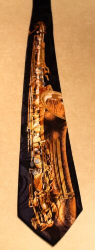 Saxophone On A New Black Polyester Neck Tie By Steven Harris Free Shipping