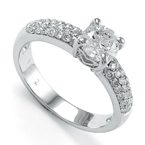 14K Solid White gold Diamond Engagement Pave Ring Semi-Mount  R1271.