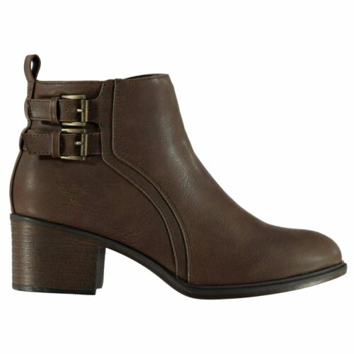 Miso Rossini Buckle Boots Ladies Heeled Ankle Zip