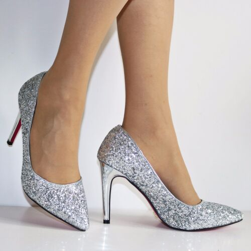 NEW Womens Party Prom Evening Super Sparkly Glittery High Heel Court Shoes Size