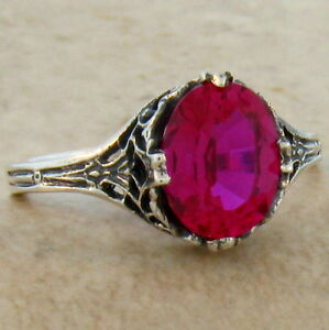 Red Lab Ruby Antique Art Deco Style 925 Sterling Silver