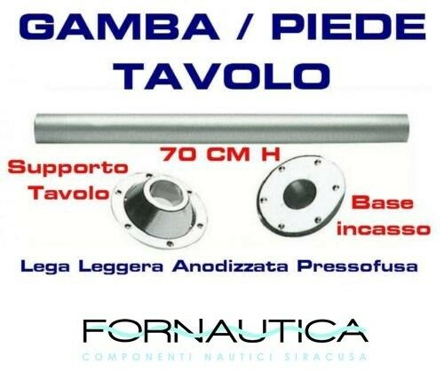 GAMBA TAVOLO COMPLETA DI BASI IN LEGA LEGGERA H.70 CM PER BARCA CAMPER