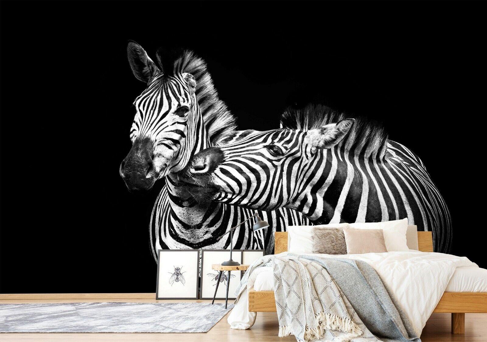 3D Zebra Liebe H112 Tier Tapete Wandbild Selbstklebend Abnehmbare Angelia