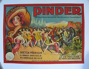 Vintage Pinder Circus Poster on Linen