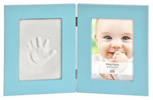 Baby-Foto-Rahmen-und-Impressum-Andenken-Set-Blau
