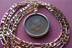 "1902-1910 Canada Large Cent Coin Pendant 18K  20"" Gold Filled Wide Figaro Chain"